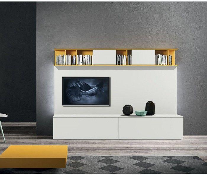 Designer TV Wohnwand In Weiss Mit Highlightfarbe Orca Design Cupboard