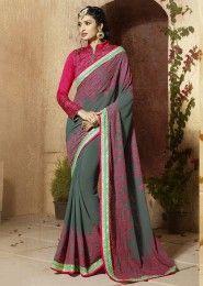 Embroidered Work Party Wear Designer Saree