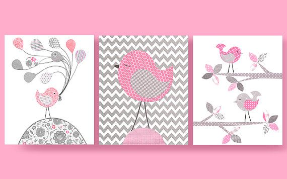 Grey and Pink Birds, Bird Nursery, Pink Birds, Girl Nursery Art, Cute Bird Art…