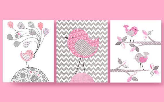Grey and Pink Birds, Bird Nursery, Pink Birds, Girl Nursery Art, Cute Bird Art…