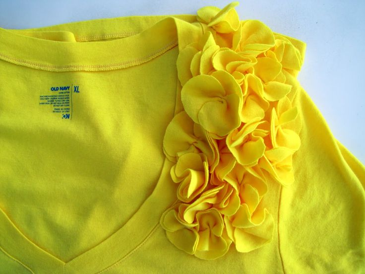 Yellow flowers added to a tshirt