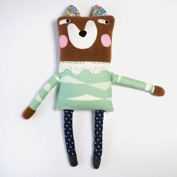 Foxy Lady Fleece and Felt Plush Softie  Gift by alifeinthemaking