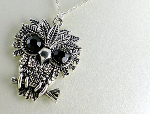 Owl Charm Necklace, bird on branch, Antique Silver, by balance9  ~ $18.00