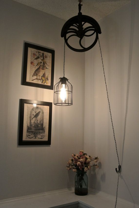 Upcycled Industrial Vintage Well Pulley Hanging Pendant Cage Light Caves B