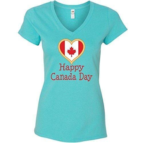 Inktastic Women's Happy Canada Day Junior V-Neck T-Shirts Medium Scuba Blue