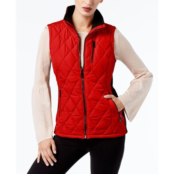 Calvin Klein Quilted Vest, a Style ($60) ❤ liked on Polyvore featuring outerwear, vests, rouge, red waistcoat, quilted vests, red vest, red quilted vest and calvin klein vest