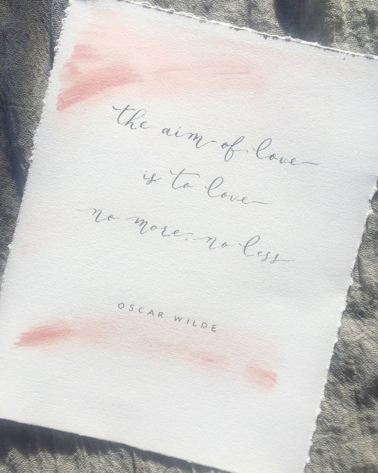 Calligraphy quote by Oscar Wilde. Pink watercolour and grey ink