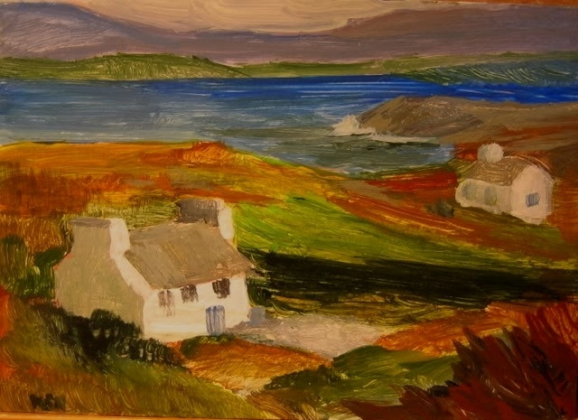 Oil Painting Small Irish Cottage By The Sea 9x15in