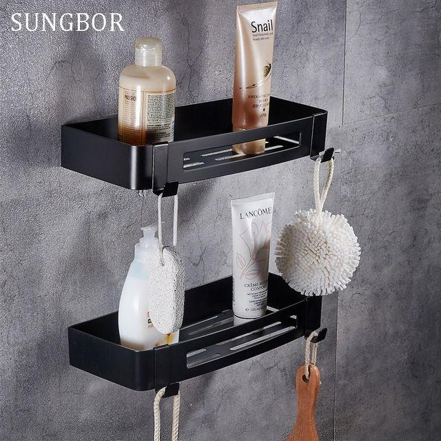 Rvs 304 Zwart badkamer hoekplank douche rack voor lichaam wassen fles wc hoek tafel plank houder HL-3669H