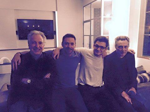 Alan Rickman, Hugh Jackman, some guy & Christopher Walken