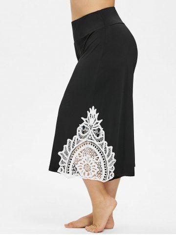 Shop For Black 4x Plus Size Lace Trim Wide Leg Capri Pants Online At