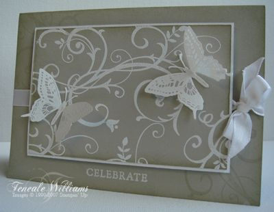 Simple white embossing on Sahara Sand with Baroque Motifs and the butterfly from Touch of nature embossed on vellum and cut out.