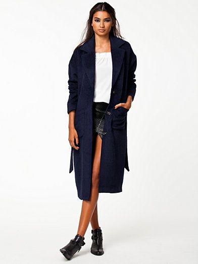 Fuzzy Long Coat - Notion 1.3 - Navy - Jackor - Kläder - Kvinna - Nelly.com