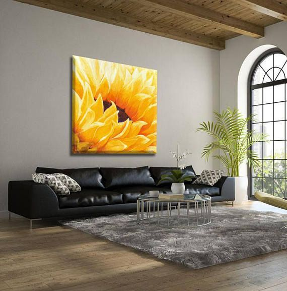 A sunflower painting by Miri Lavee. The magical joyous warm light of the sunflower brightens up the whole living room. To see the painting in my Etsy shop click on the photo or the link: https://www.etsy.com/MiriLaveeArt/listing/262453280  #sunflower #sunflowerpainting #senflowerdecor #oilpainting #wallart #mirilavee #livingroomdecor #painting #livingroompainting #walldecor #homedecor #flowerpainting #flowerwallart #etsy