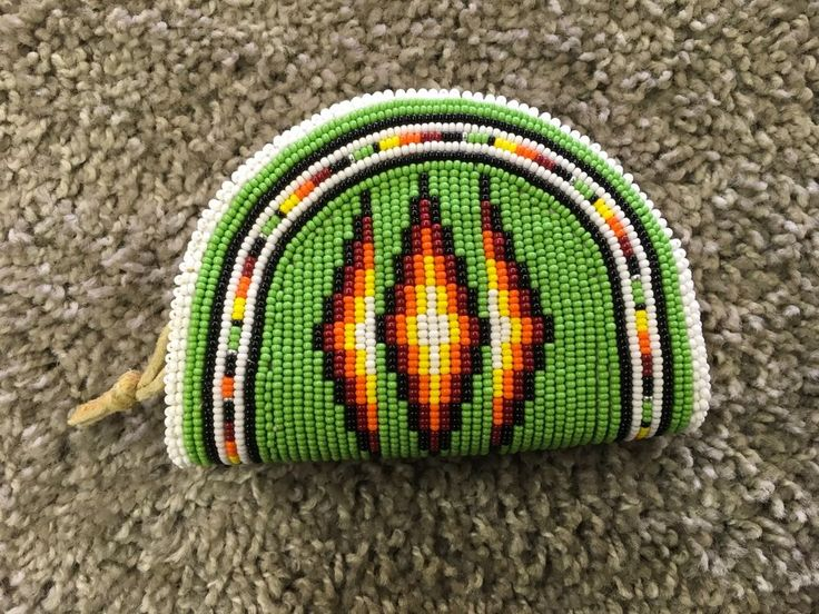 Native American Green, white, orange, red, black, Beaded Purse    eBay