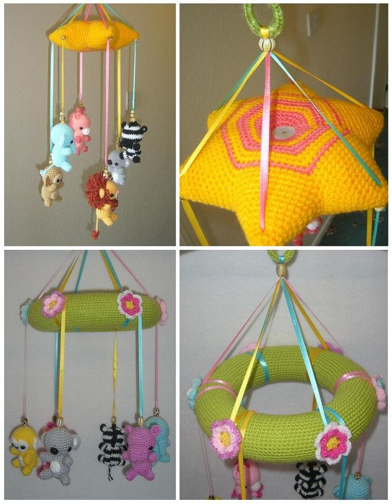 PDF crochet pattern baby animals Mobile