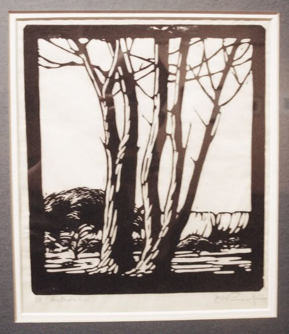 A black and white woodcut tree by Pierneef
