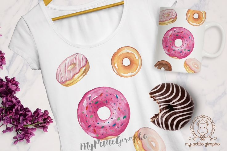 Donuts #tshirt #design #mug #pillow #watercolor #designer #art #illustration #donut #donuts #zazzle #etsy #etsyseller