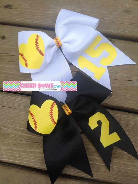 Fun and cute bows for SOFTBALL!! Finished with a STITCHED (look) ribbon center!  Choose a HEART shaped ball or a ROUND ball!  Choose your ribbon
