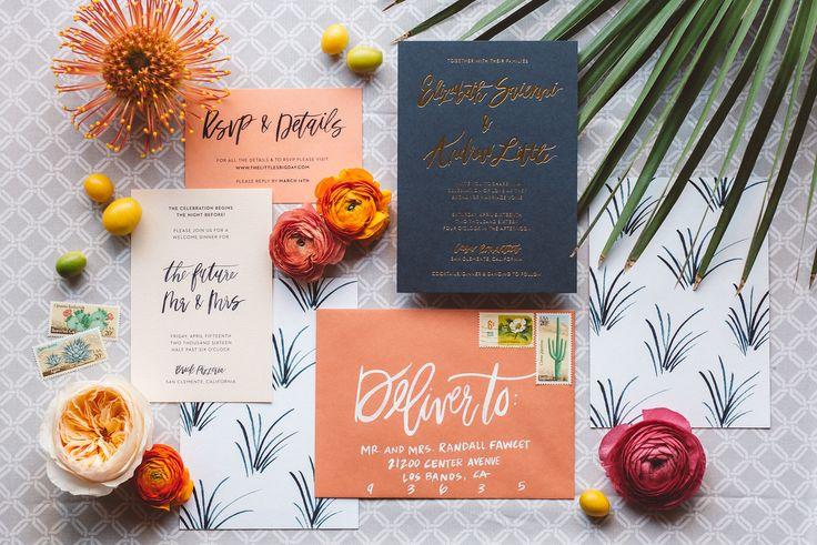 Orange and blue wedding suite   LIZ + ANDREW :: CASA ROMANTICA — Vanessa Noel Events