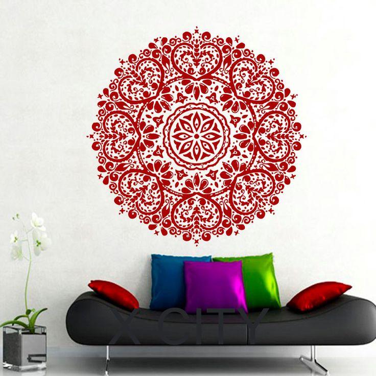 Wall Decals Mandala Indian Pattern Yoga Oum Om Sign Decal Vinyl Sticker Home GYM Office Decor Art Murals Bedroom Studio Window