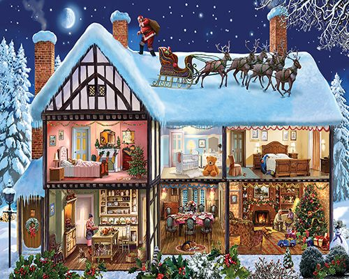 Christmas House- 1000 Piece Puzzle-White Mountain Puzzles