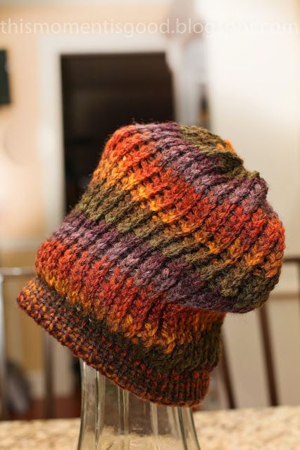 LOOM KNIT BEANIE with slouch. Perfect for fall! Pattern included. thismomenti...