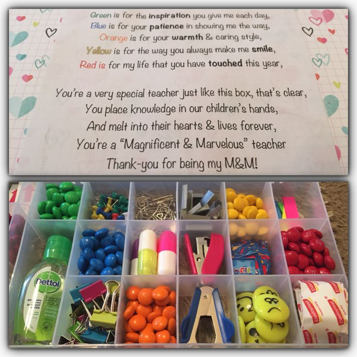Grab a clear container with dividers. Add stationary that the teacher may need throughout the year, and the M&M poem with the colour of the m&m chocolate's. Teachers love the idea as they need to buy certain products themselves.