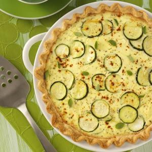Zucchini Quiche   - I'll make healthier by not using a crust and cutting the cheese in at least half, a lot of cheese used in this recipe.  And milk instead of the cream.  I might use Greek yogurt for the ricotta, too.