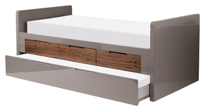 What good is a lovely comfortable bed if you cant share it with your friends? The Buddy bed lets you do just that. The guest bed, with mattresses included, simply rolls out from beneath the main bed. In addition there are three voluminous, built-in drawers to store all your bedding. The entire bed frame is in a contemporary stone gloss and the drawers are in a contrasting walnut veneer.