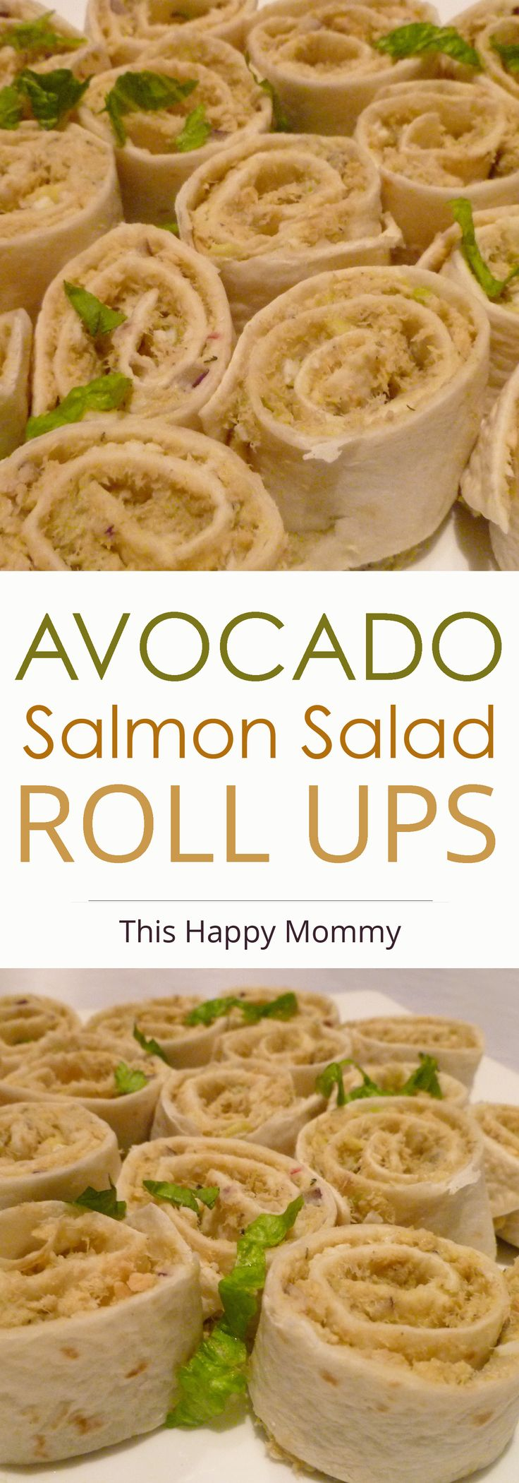 Avocado Salmon Salad Roll Ups -- Healthy salmon salad sandwiches made with creamy avocado, hard boiled egg, red onion, lemon, and dill. | thishappymommy.com