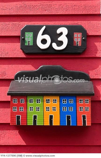Mailbox, jelly-bean jelly bean row houses, Signal Hill Road, St  John´s, Newfoundland, Canada