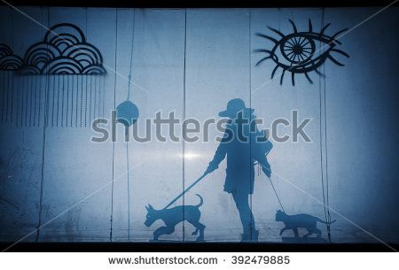 girl with her pets - stock photo