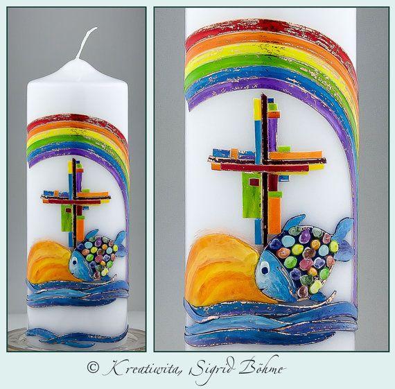 Taufkerze Fisch Regenbogen Kreuz Taufgeschenk Christliche Geschenkidee Taufe  Baby Mädchen Junge Patenkerze Handgefertigtes Wachsdekor
