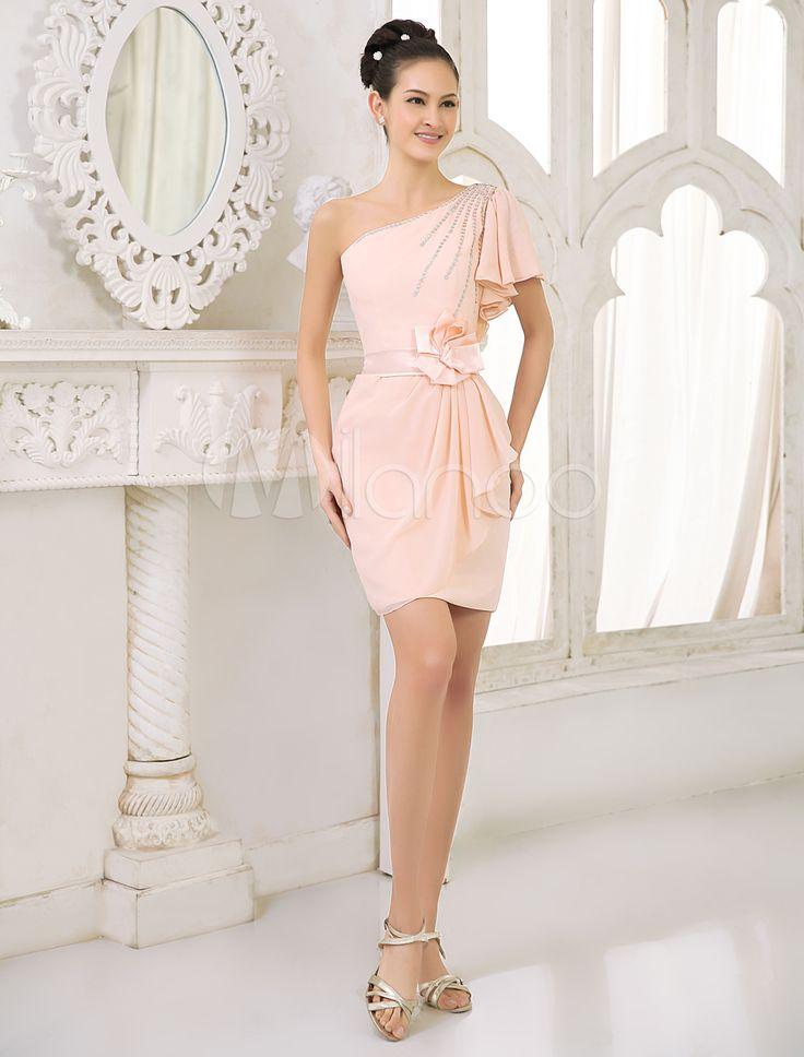 Fard à joues rose pêche demoiselle d'honneur robe en mousseline de soie robe de Cocktail perlée une épaule volantée gaine courte robe Milanoo