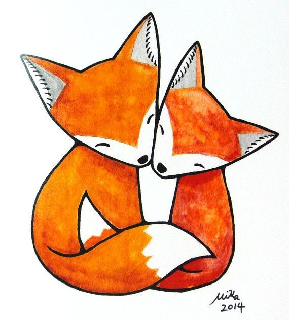 Fox Illustration Print Fox Art Print Fox Couple Love Illustration Orange Fox Art Print Fox
