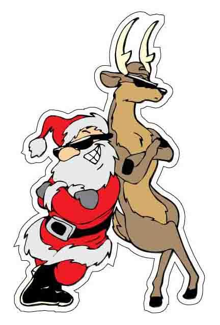 Cool Santa and Reindeer Vinyl Sticker (printed vinyl decal); Christmas Holiday vinyl stickers; Get your vinyl decal for $2