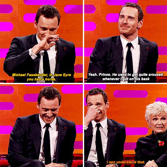 When Michael Fassbender told Graham a story about horse arousal, and Julie Walters said this.