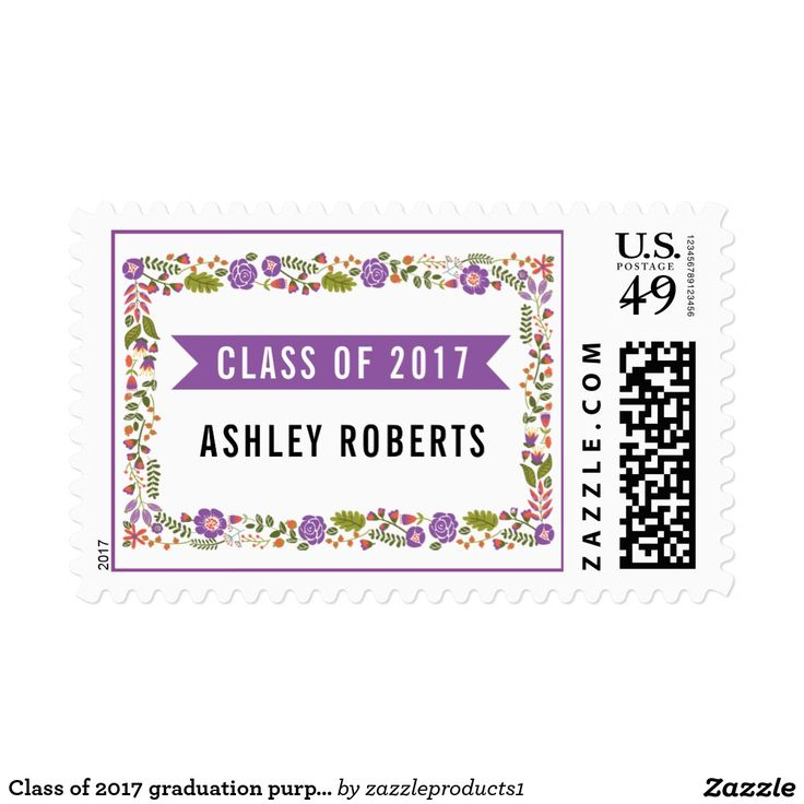Class of 2017 graduation purple orange floral postage