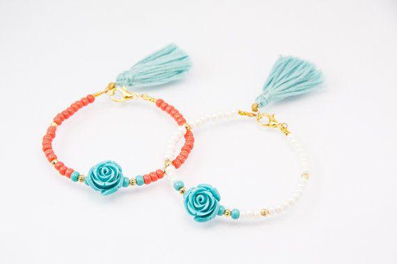 Perlen Armband Perlen Armreif Quaste Armband Rosa Armband