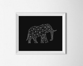 Elephant Art, Origami kunst, digitale, moderne kunst, geometrische olifant kunst, zwart en wit, kunst aan de muur olifant, olifant afdrukken, Wall afdrukken