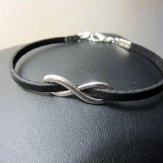 BIJOUX FAITS MAIN UNIQUE - MA PETITE BOUTIK - Bracelet infini argent et suédine noire effet cuir - fait main - handmade