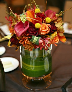 fall centerpiece with reds, oranges, yellows