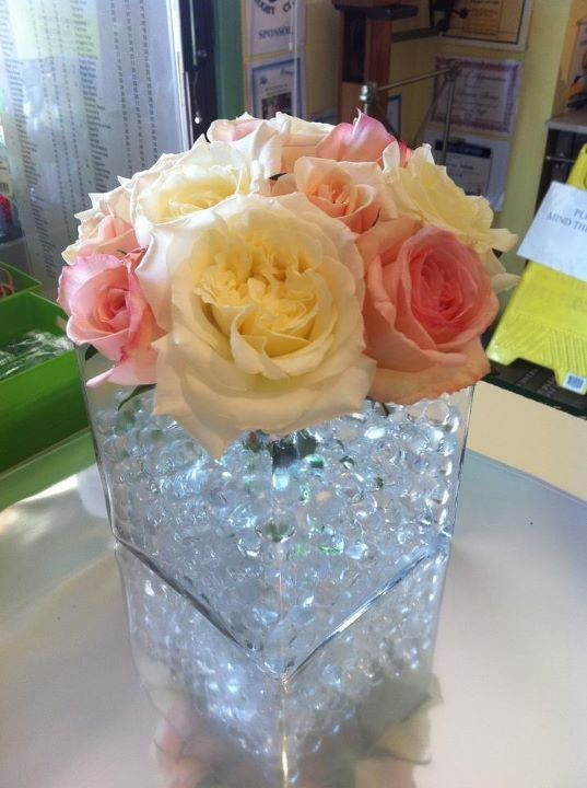 Beautiful Pink and White Rose Table Arrangement