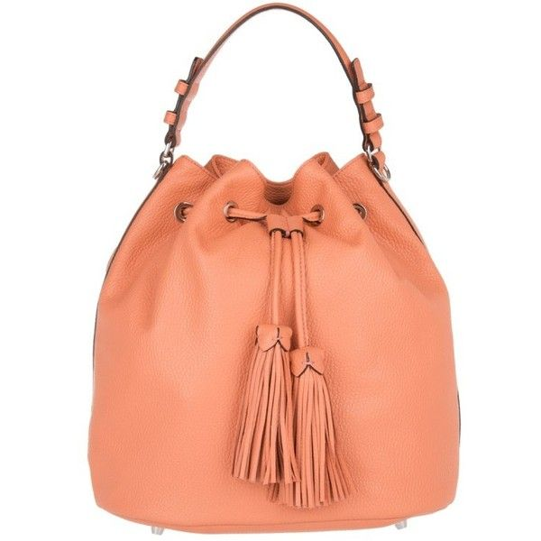 Abro Adria Bucket Bag Calf Leather Papaya in orange, Shoulder Bags ($180) ❤ liked on Polyvore featuring bags, handbags, shoulder bags, orange, bucket bags, red shoulder handbags, shoulder bag purse, abro handbags and shoulder handbags
