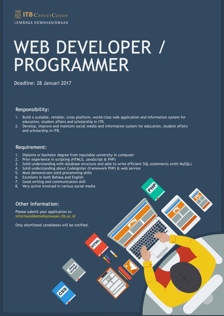 URGENTLY REQUIRED! Web Developer / Programmer from ITB Career Center for Diploma/Bachelor Degree >> http://bit.ly/2iYIE98 DEADLINE: 28 January 2017 #itbcc