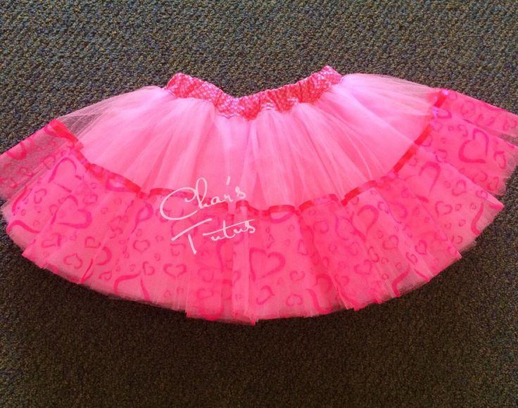 Valentine Pink Hearts trimmed Pink Tutu - Girls, Photos, Birthdays, Dress up, Valentines Day, Holiday. by CharsTutus on Etsy