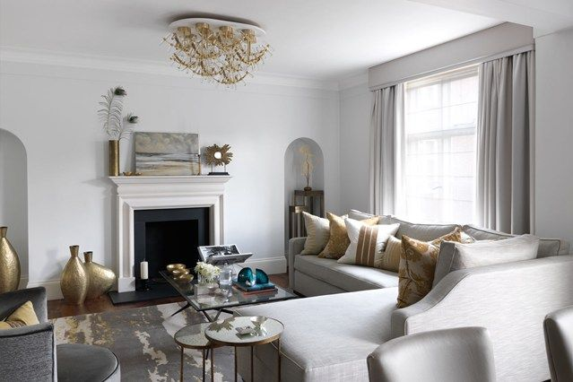 Discover modern living room design ideas on HOUSE - design, food and travel by House & Garden. Interior designer Kamini Ezralow used a subtle palette of grey and yellow in her scheme for this Mayfair apartment.