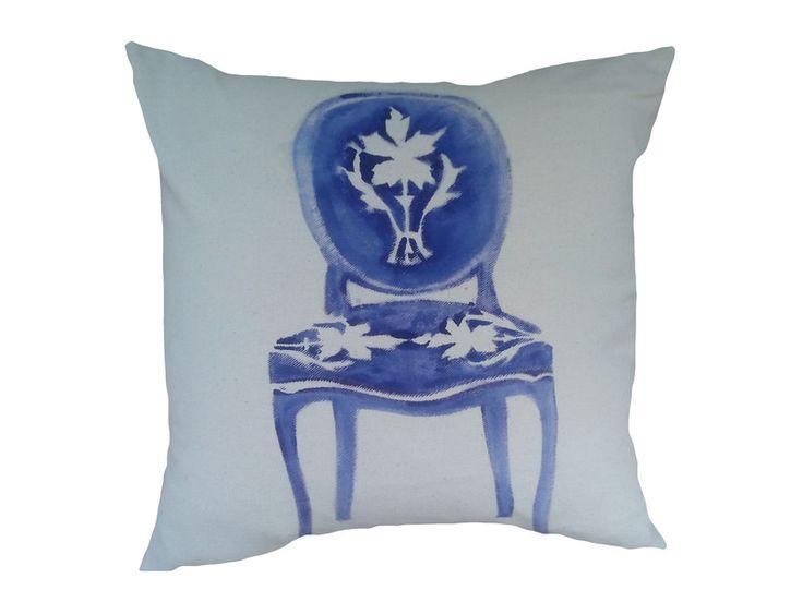 Krzesło Barokowe NIebieskie recznie malowane 50x50 w W.pelni Design na DaWanda.com
