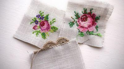 Cross Stitch Love xxx using the Cath Kidston pincushion pattern